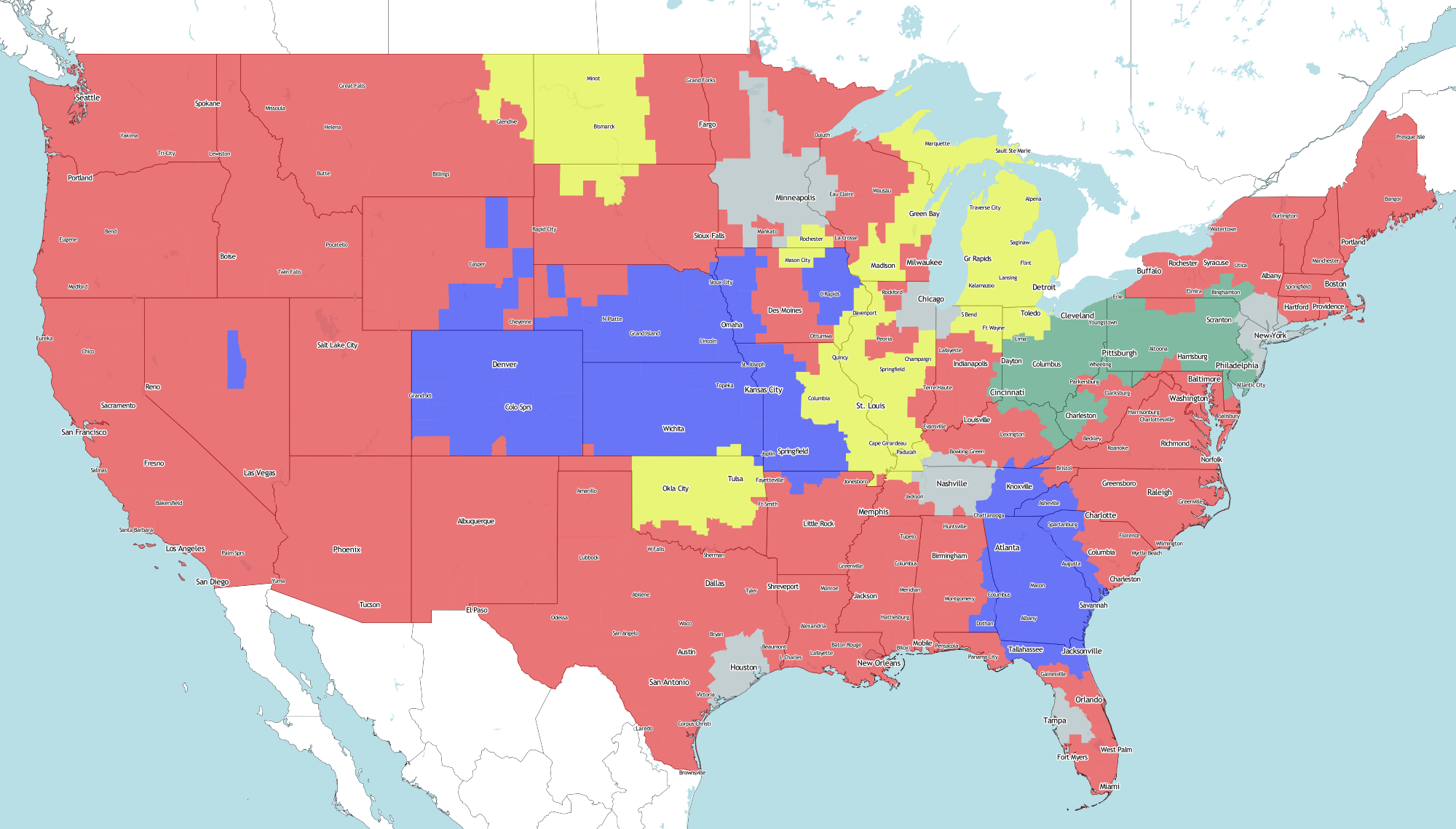 NFL TV Map for Week 1   Sports, Hip Hop & Piff - The Coli